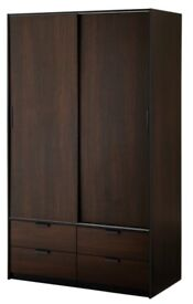 ikea trysil - standing wardrobe with sliding doors and 4 drawers - black brown