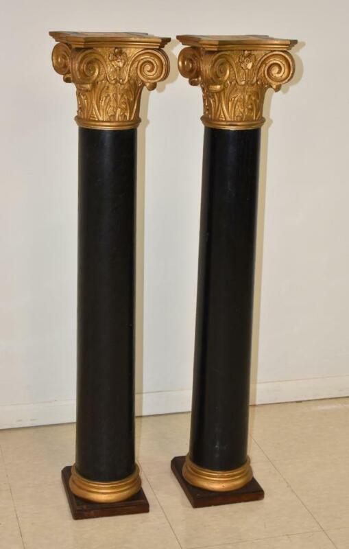 Pair Empire Style Carved Oak Pillars Corinthian Tops Circa 1910