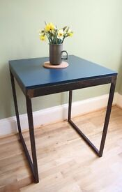Industrial Square Dining Table Cast Iron/ Farrow & Ball/ Small Vintage Retro Utility Café Table Desk