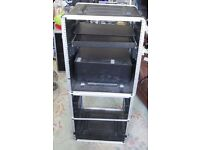Large 2 section Rack Mounting Shelving Unit for music gear with two drawers and shelf. Over 2m high.
