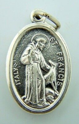 - Saint St Francis Pet Medal & Saint St Anthony Doulbe Sided Medal Silver P 1