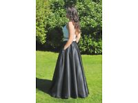 Two Piece, Black and White, Open Back, Pearl Top Prom Dress, Size 8.