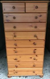 Beautiful quality tall creamery chest of drawers