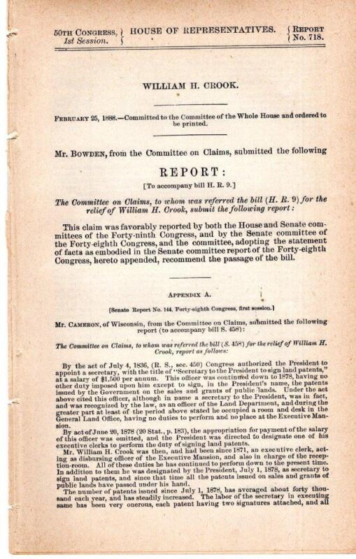 Cmte on Claims-2/25/1888  HR9  Relief of William H. Crook