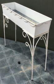 Rectangular metal plant trough box on legs
