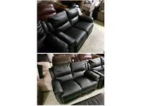 Black leather air 2 & 2 seater sofa recliner
