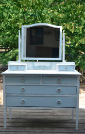 Antique white and duck egg blue six drawer dressing table
