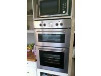 Delonghi Appliances (double oven, hob, microwave and sink with tap.)