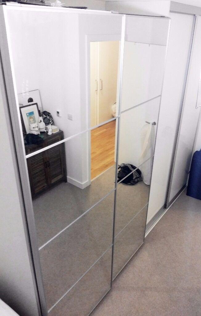 Ikea Pax Wardrobe Double Mirror Sliding Doors 3 Bars 5 Drawers 1