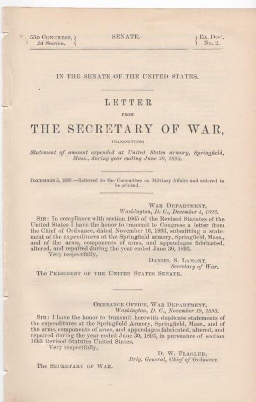 Senate: Secretary of War amount of expended at US armory, Springfield, Mass 1893