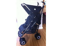 Maclaren Techno XT, black, immaculate condition, with raincover and footmuff