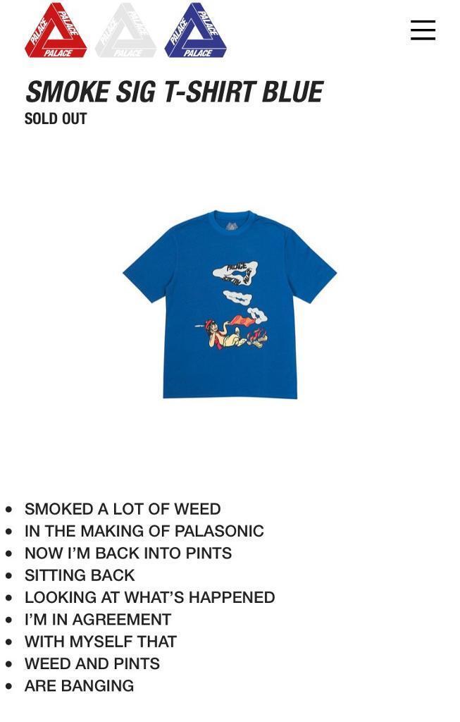 0540d19d18a6 Palace smoke sig T-shirt blue