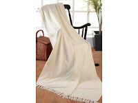 Large Cream Chenille Throw / Blanket for double bed / three seater sofa