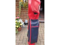 Navy and Red Golf Bag with hood