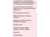 MODEL WANTED FOR MAKEUP