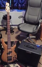 Bass Guitar + Amp + Stand & Lead