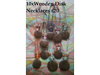 JOB LOT OF 10 FAIR TRADE WOODEN DISK NECKLACES – NEW