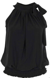 New Ladies Black Side Pussybow Sleeveless Ruched Top.Size 22.