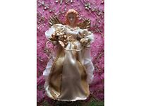 NEW TRADITIONS Large Porcelain Fairy Tree Topper Ornament/ Decoration White & Gold Baubles CHRISTMAS