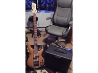 Bass guitar & Amplifier + Stand and lead