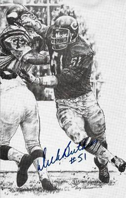 RARE DICK BUTKUS SIGNED B&W POSTCARD~PRO FOOTBALL HALL OF FAME~HOF AUTO~JSA
