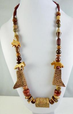 Vintage Wood Safari Themed Bead Necklace 25