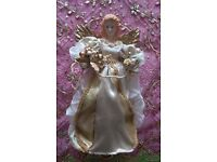 """*Large Single Porcelain Fairy Tree Topper Ornament/ Decoration:""""Traditions"""" White & Gold: Christmas"""