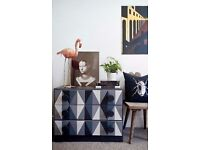 Colourful gemoteric quirky refurbished chest of drawers