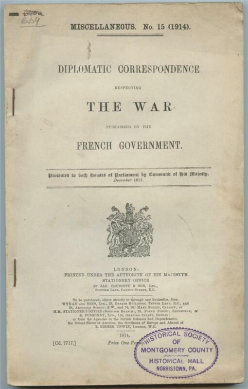 Diplomatic Correspondence Respecting The War French Govt. British WWI Booklet
