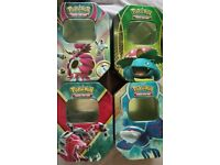 Pokemon tins (4, empty) in great condition