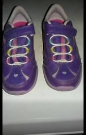 Clark's girls flashy purple trainers size 9.5f hardly worn
