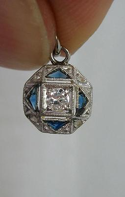 Sapphire Diamond Pendant Art Deco Necklace 14K Gold Edwardian Wedding OMC