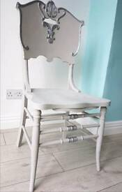 Antique Ornate Baroque Vintage Upcycled 1930s Grey Silver Chair Furniture