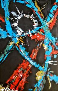 CURVED SPACE 36 x 24 New Acrylic Painting Abstract Art by Koudelka OUTER SPACE Primary Colors Black Red Turquoise Large
