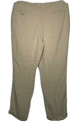 Mens Nautica 100% Cream Silk Khaki Pleated Cuffed Casual Slacks Pants Size 40x32