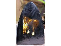 Hand Painted Flat Iron depicting Horse having front leg shod by farrier
