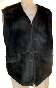 "CANADA 100% SHEEPSKIN SHEARLING ZIP VEST // BLACK // MADE IN CANADA // OCEAN WEST / 40"" CHEST M L UNISEX / PICKUP / SHIP"