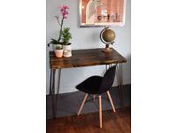 Rustic Handmade Industrial Desk hairpin leg table 100cm x 52cm Blackened