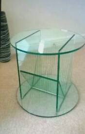 Glass round side table