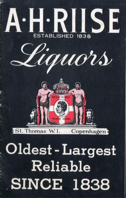 A H RIISE LIQUORS PRICE LIST ST THOMAS WEST INDIES COPENHAGEN WHISKY SCOTCH