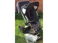 Quinny Buzz buggy stroller pushchair in Black with Quinny Raincover blanket and footmuff