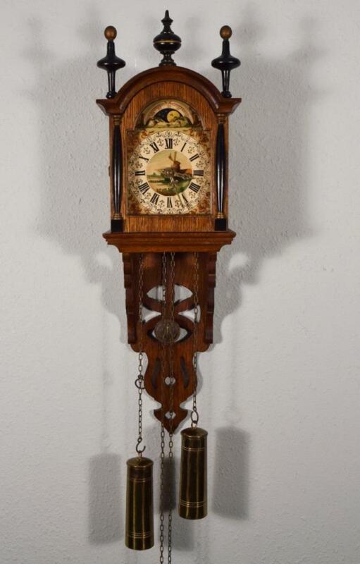 Antique Dutch Friesian Tail Clock/Zaandam Clock Hand Painted Dial/Moon Dial