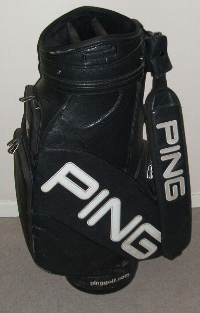 Large 10 Inch Black Ping Golf Bag Trolley Cart Tour With Strap Good