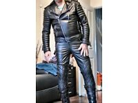 Leather Biker Jeans, Leg Padding, 34 ins waist, 31.5 inside leg, Skinny Fit