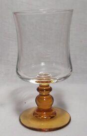 Amber ball stem goblets/glasses x 6