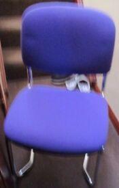 4 x Purple & Chrome Stacking chairs
