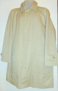 BURBERRY Genuine brand Mens Lightly Used Raincoat Large 42 44 Regular Vintage Coat Beige Cotton Poly blend Rainproof