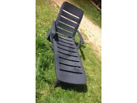 Folding Sun Lounger - Green Plastic