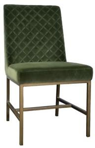 Green or Grey Velvet Dining Chair with Rustic Bronze Gold Legs from ARTeFAC