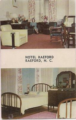 Hotel RAEFORD NC Lobby Bedroom Mirror Woman's Reflection 1940s UNUSED Postcard